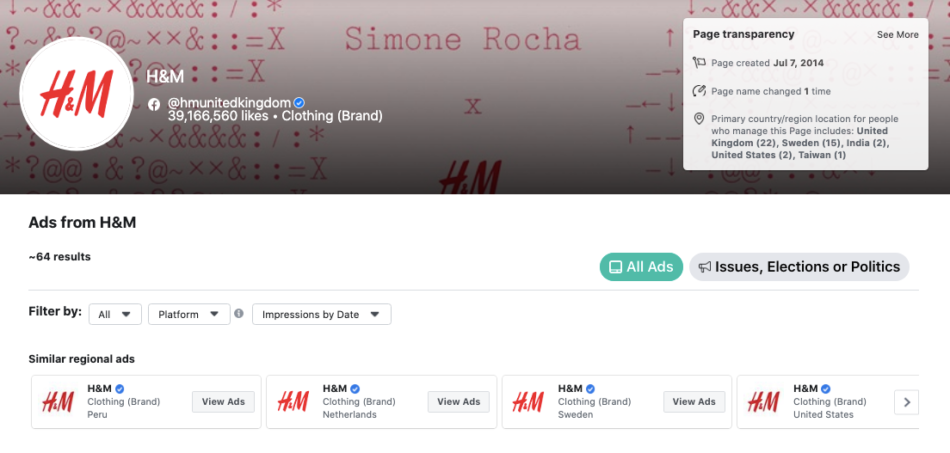 H&M's page in facebook ad library