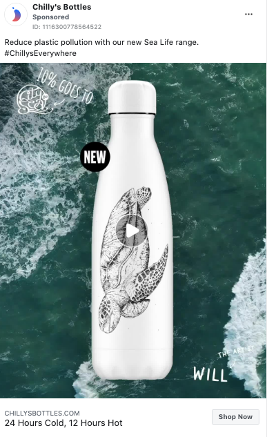 Chilly's water bottle Facebook ad
