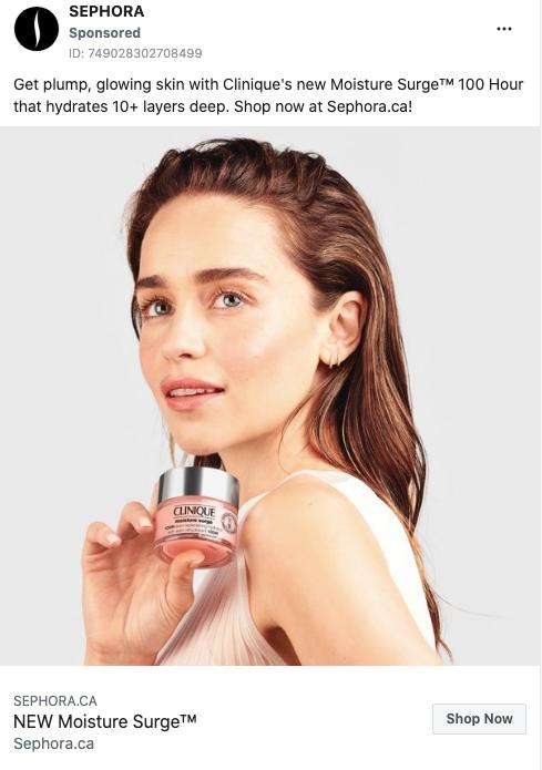 Sephora's Facebook Ad for Clinique