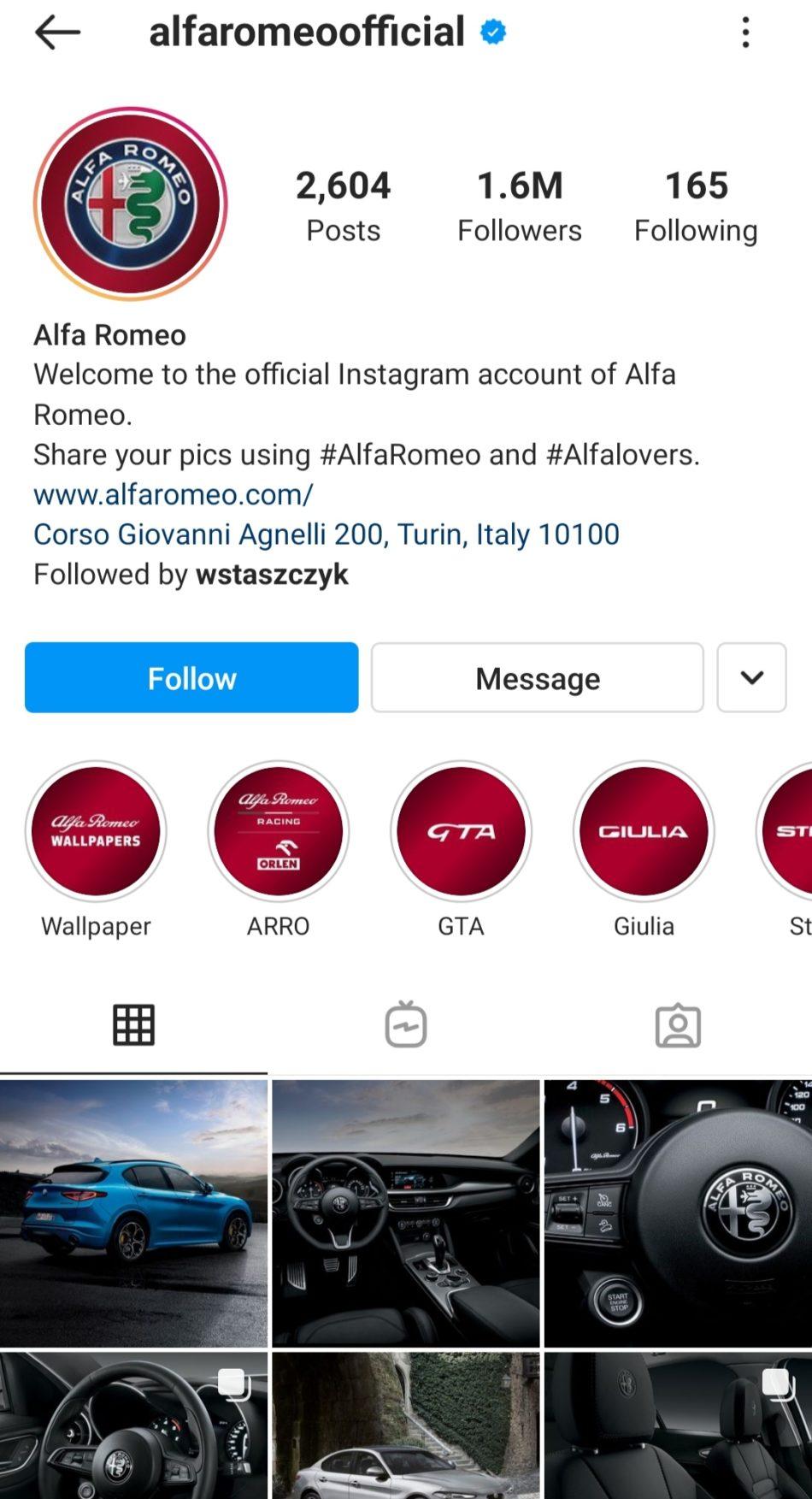 branding consistency alfa romeo's instagram