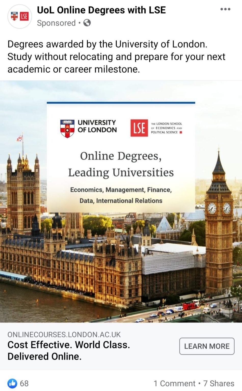 university in london facebook ad