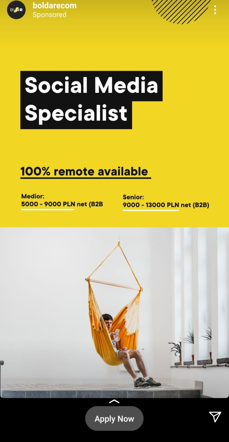 instagram ad for social media specialist