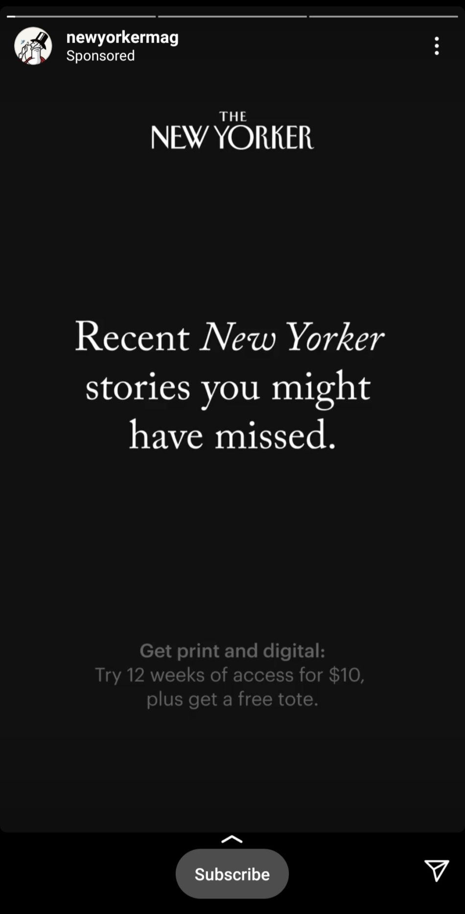 New Yorker Instagram ad