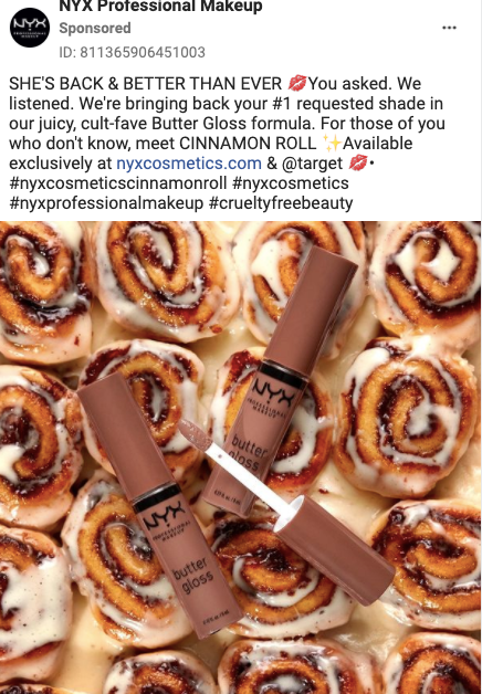 NYX Instagram ad butter gloss