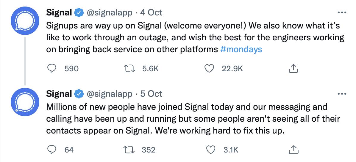 signal app facebook outage