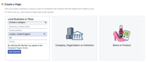 Creating Facebook Page - add your business details
