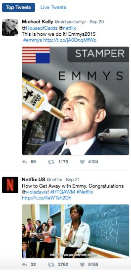 Top tweets for 2015 Emmy's Awards.