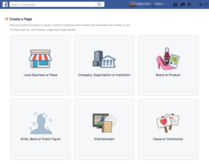 Creating Facebook Page - select a category first.