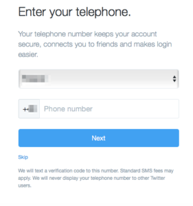 Creating Twitter account - add your phone number