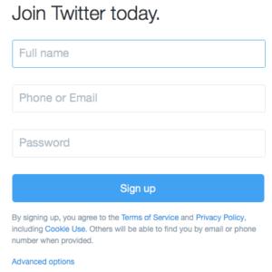 Creating Twitter account