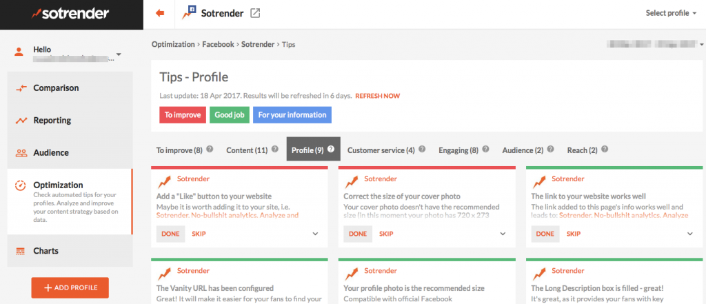 Sotrender's data-driven tool tips are helping Facebook Page managers in achieving their goals