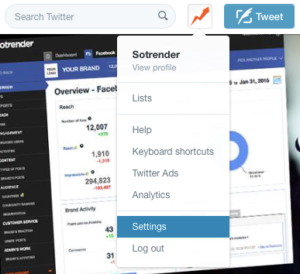 How to open Twitter account Settings