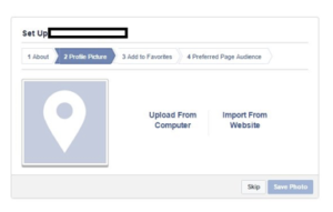 Creating Facebook Page - add profile picture