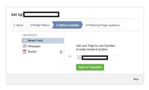 Creating Facebook Page - add to your favorites