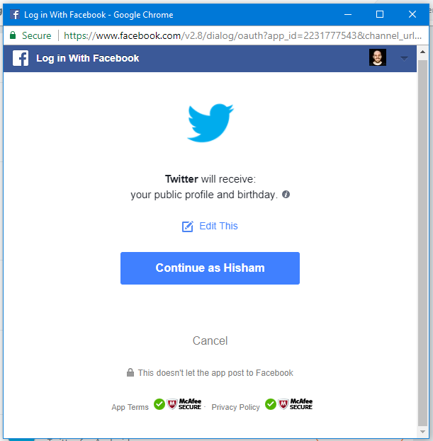 Connect Twitter to Facebook Step 2