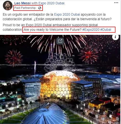 Leo Messi Dubai Expo2020 paid partnership