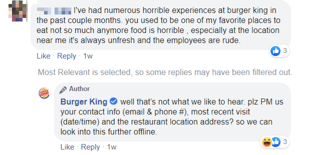 Customer complaining about Burger King's service on Facebook