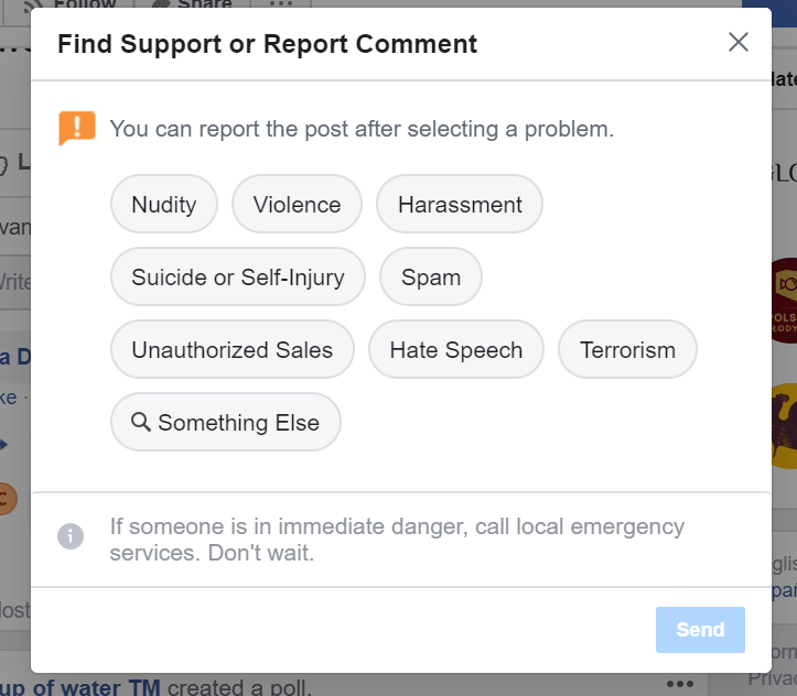 Using Facebook Support to report a comment
