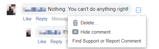 Hiding offensive comments on Facebook
