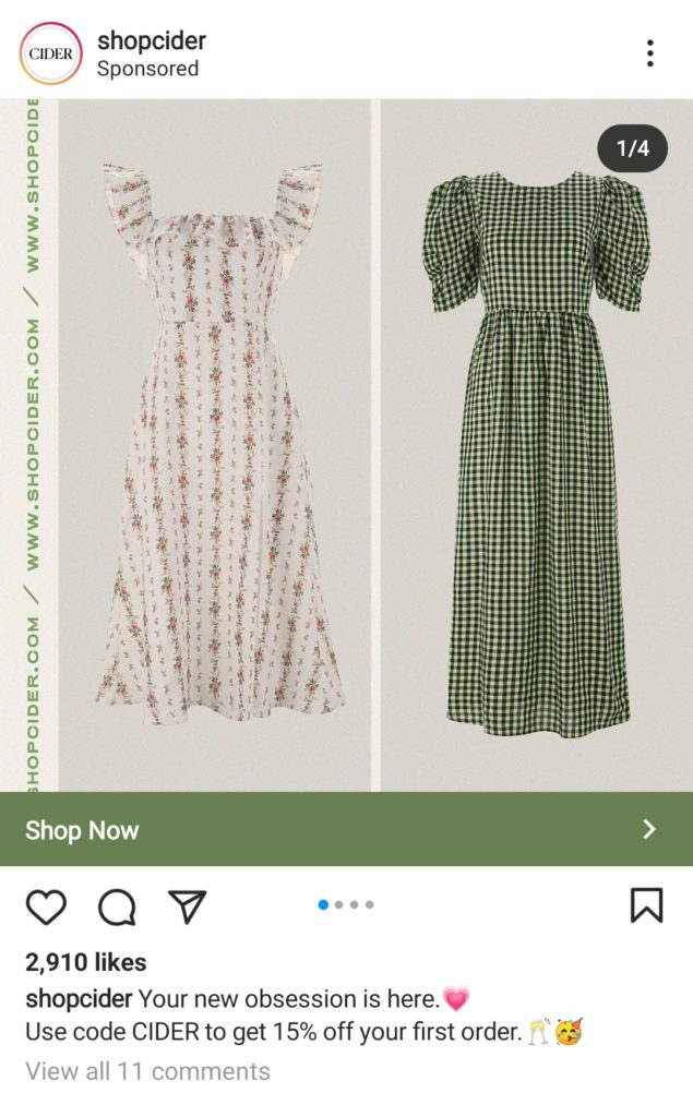 Instagram ad in feed