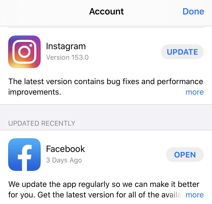 update Instagram app iOS
