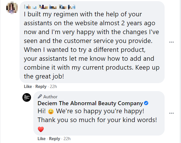 Deciem responding to positive feedback about their products and services over Facebook