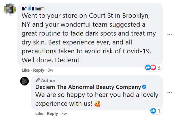 Deciem responding to positive feedback from fans on Facebook
