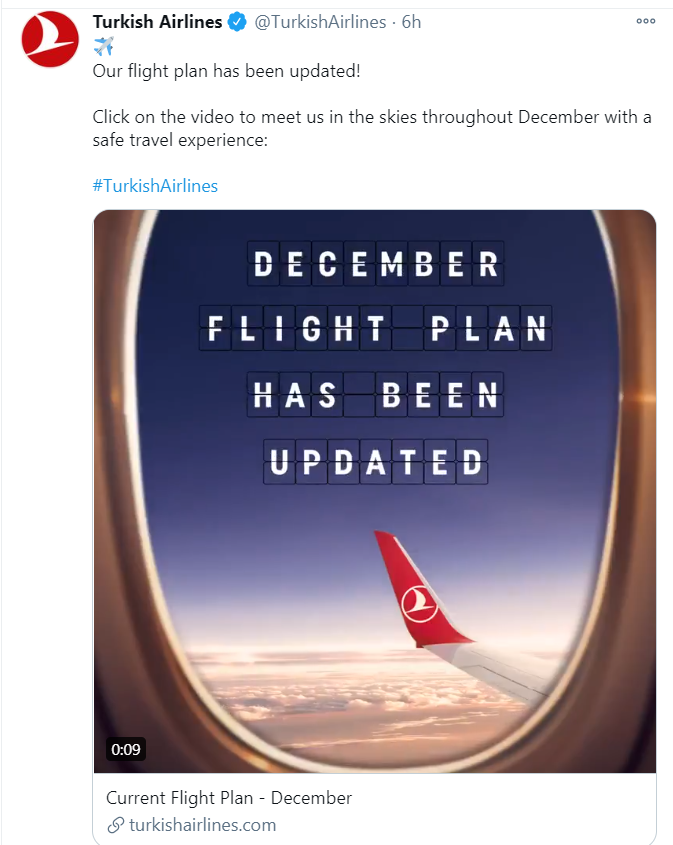 Turkish Airlines tweet about December flight plan