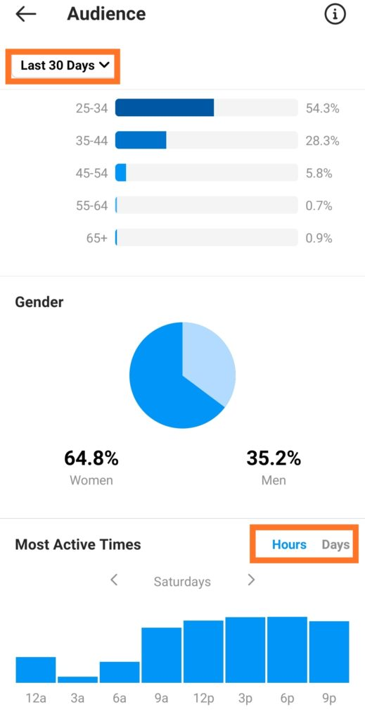Instagram Insights audience demographics