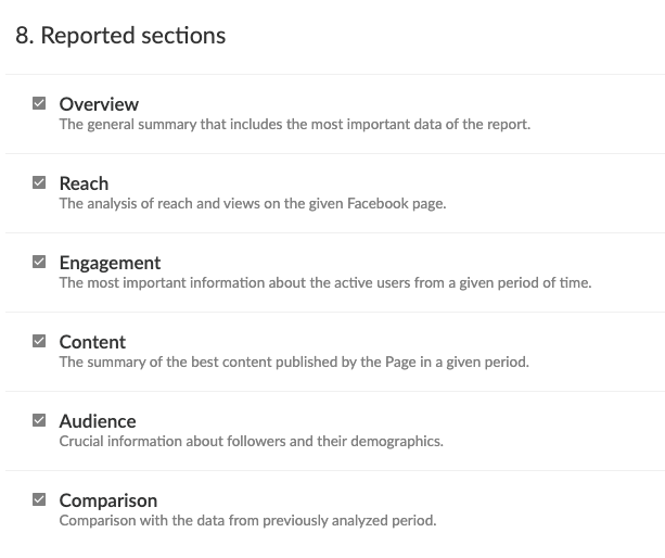 instagram report sections