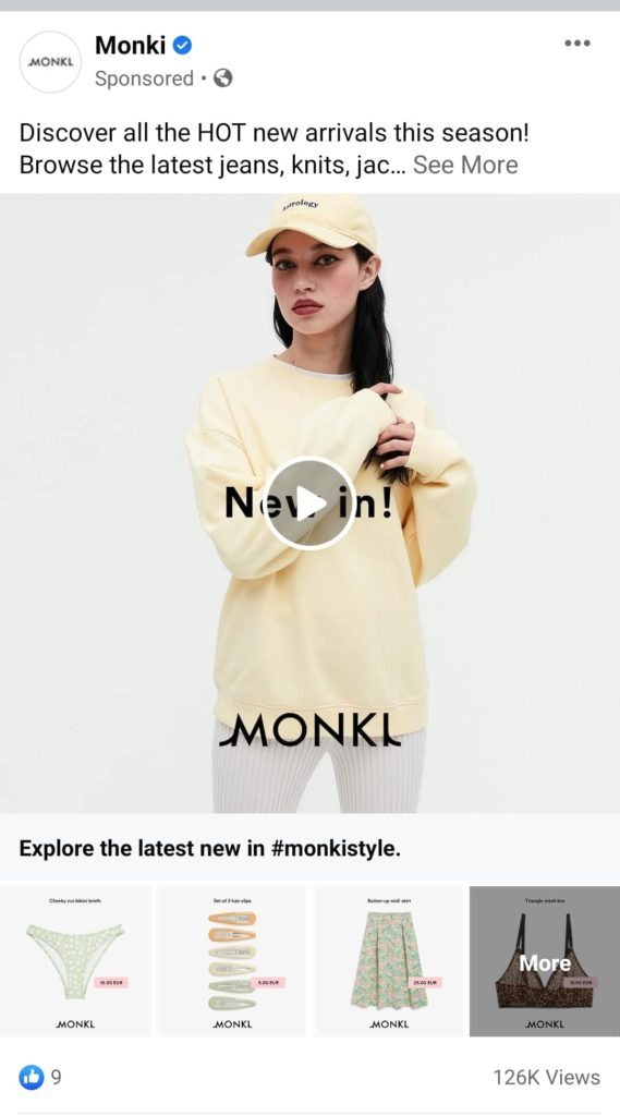 monki collection facebook ad format