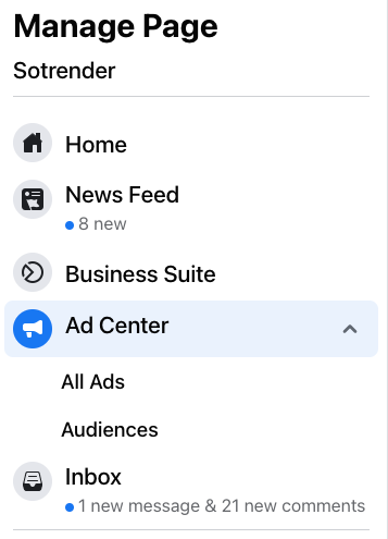 manage facebook page options