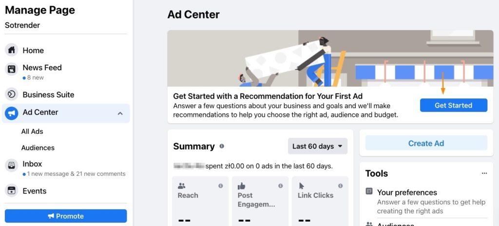 get started facebook ad center