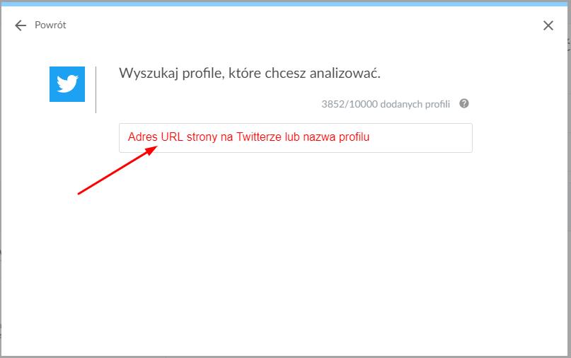 dodanie profilu z Twittera