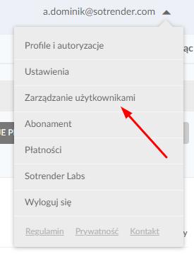 zarządzanie użytkownikami w Sotrenderze