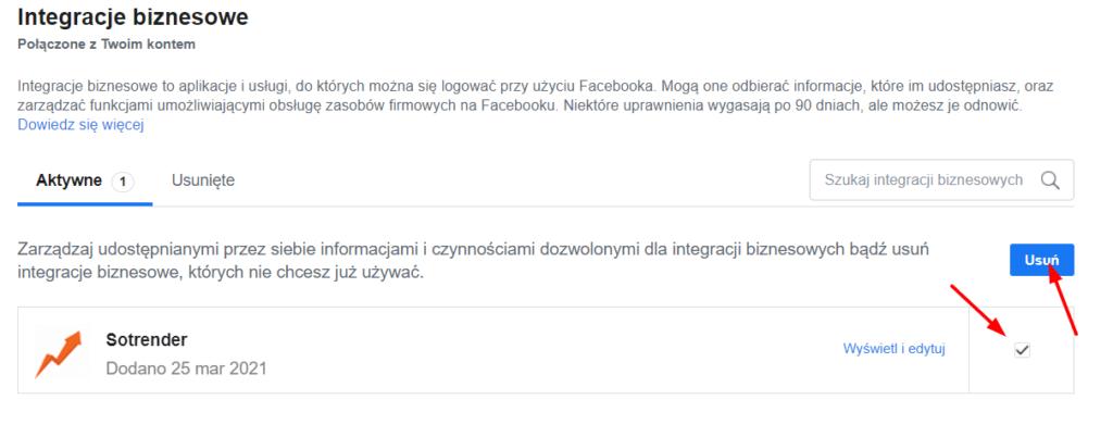 integracje biznesowe na facebooku