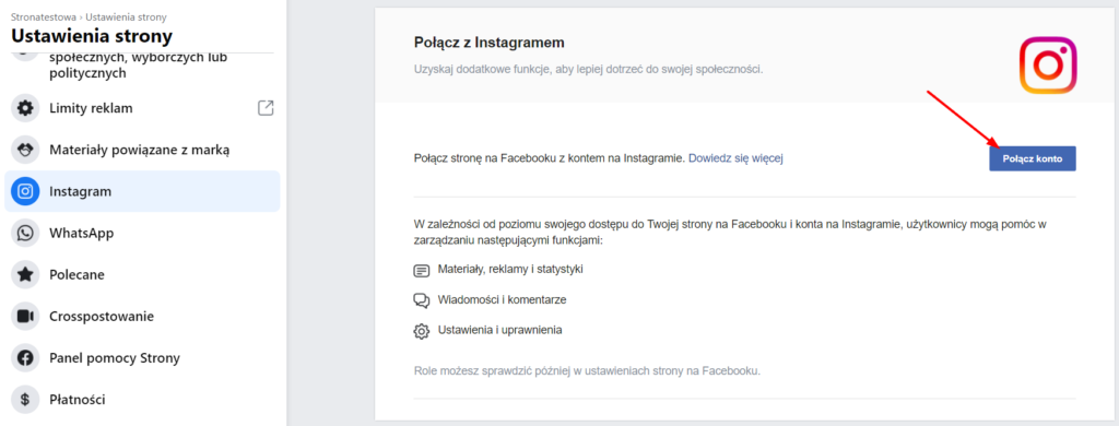 połączenie strony na Facebooku z Instagramem