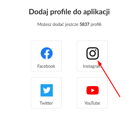 dodanie profilu instagramowego w sotrenderze